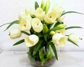 Items similar to Real Touch White Tulip Artificial Flower Arrangement Fishbowl Vase Fake Flowers