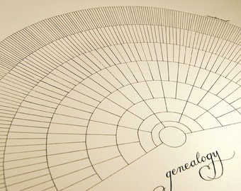 """Printed 22"""" x 28"""" blank 9-level genealogy chart in brown-black ink on cream paper"""