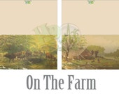 Vintage Farm Note Card Printable Set Envelope Salvaged Victorian Scrap Rustic Farm Life Images Cows Pasture Aged Prarie Homestead Greeting
