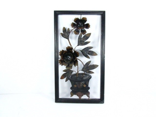 Oriental Metal Wall Decor : Vintage wall decor metal sculptureblack wood frameframed