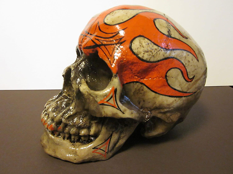 Rockabilly Skull Sculpture Halloween Psychobilly Hot Rod