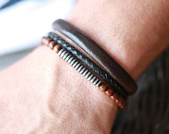 Mens THICK leather Bracelet - Mens leather Bracelet