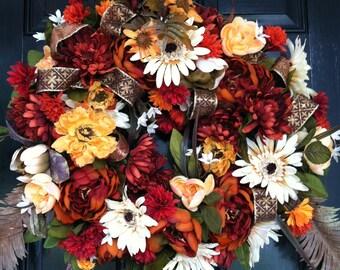 Large Elegant Luxury Silk Flowers Ribbon Door Wreath Fall Autumn Tuscan Floral Arrangement Wall Decor