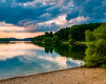 Clouds over Lake Marburg at sunset, Codorus State Park, Pennsylvania - Nature Photography Fine Art Print or Wrapped Canvas