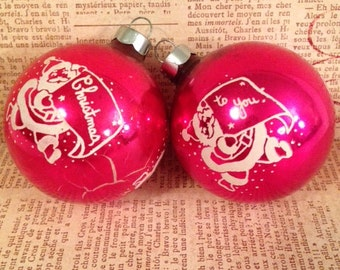 Two Pink Vintage Christmas Ornaments
