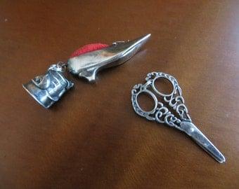 Vintage sterling silver Scissors ,Thimble, Pin Cushion Lot of 3 pendants.