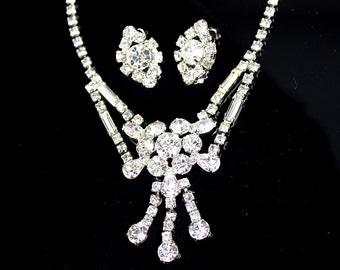 Clear Glass Rhinestone Chandelier Necklace Wedding Set Demi Parure / b8