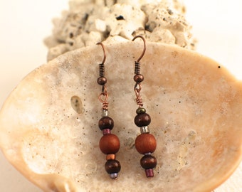 Earrings of Mixed Upcycled Beads and Copper