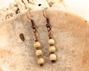Bone and Copper Earrings