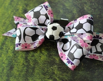 Pink, Purple and teal flower soccer bow