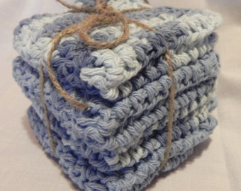 Baby Crochet Wash Cloths Baby Blue and Varigated