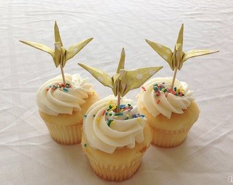 Cupcake toppers in pastel yellow polka dot of origami cranes - set of 12 - party decor - cupcake picks - shower decoration