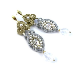 Wedding earrings pearls, soutache bridal earrings, earrings bridesmaid, wedding earrigns for bride, handmade wedding earrings