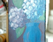 Blue Abstract Hydrangeas - Antique Book Cover Painting No.13 - Original, Whimsical, Impressionist, Acrylic Painting