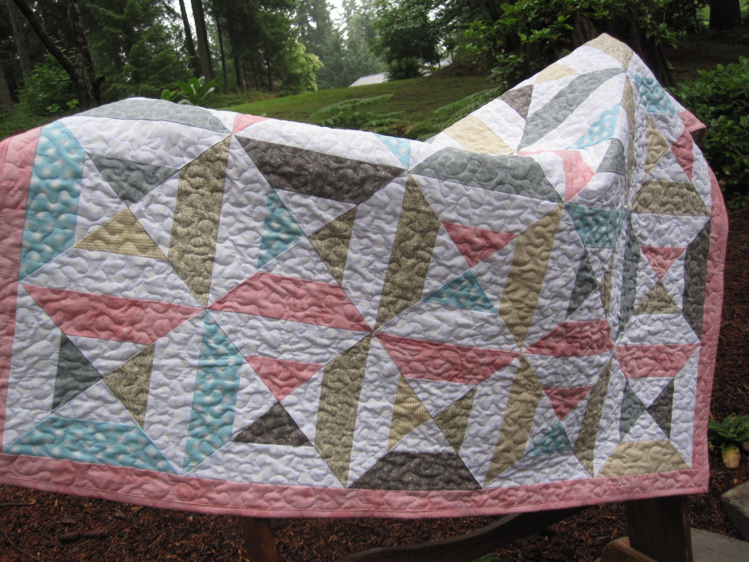 Gray Pink Blue And Yellow Baby Quilt