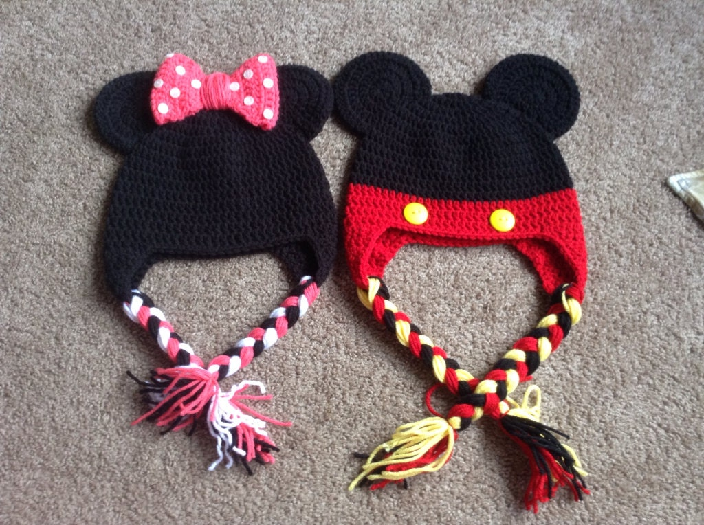 Free Crochet Pattern For Child s Minnie Mouse Hat : Baby Minnie Mouse Mickey Mouse crochet hat photo prop