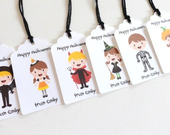Halloween Gift Tags (2x1.5 inches) w/Twine, Personalized Halloween party favor tags, Kids party favors, Kids Costumes Tags, set of 12