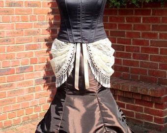 2 piece Victorian / Steampunk / Gothic Long Brown Skirt train fishtail