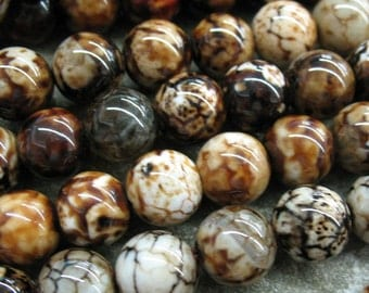 10 mm Fired Agate Beads - Item B0588