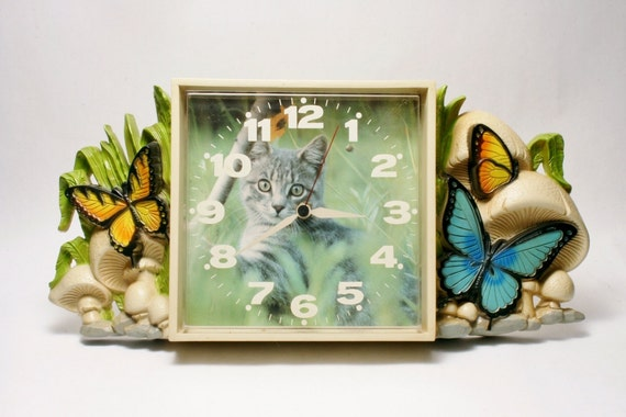 Cat Lover Clock With Retro Graphics Of Butterflies By