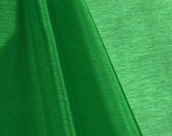 """60"""" Inch Wide Green Premium Mirror Organza sold by the Yard and by Roll (Fabric Bravo)"""