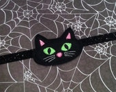Halloween Headband  - Black Felt Cat - Spooky Kitty - Black Glitter Headband - Feltie