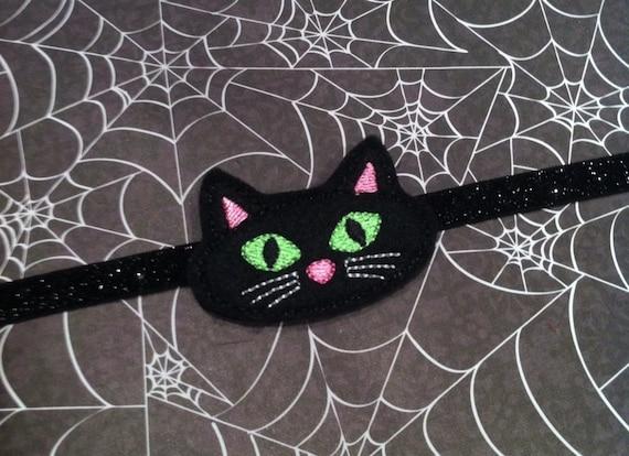 Halloween Headband  - Black Felt Cat - Spooky Kitty - Black Glitter Headband - Feltie
