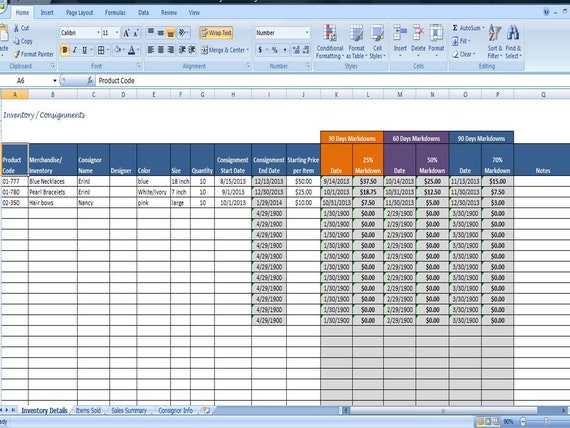 furniture inventory spreadsheet