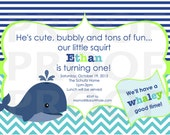Boy Baby Whale Birthday Invitation