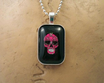 Pink Skull Glass Pendant Necklace