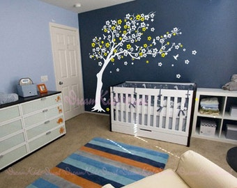 Cherry blossoms Tree decal nursery wall decal baby wall decal children wall decal flying birds decal room decal-Blowng tree-DK109
