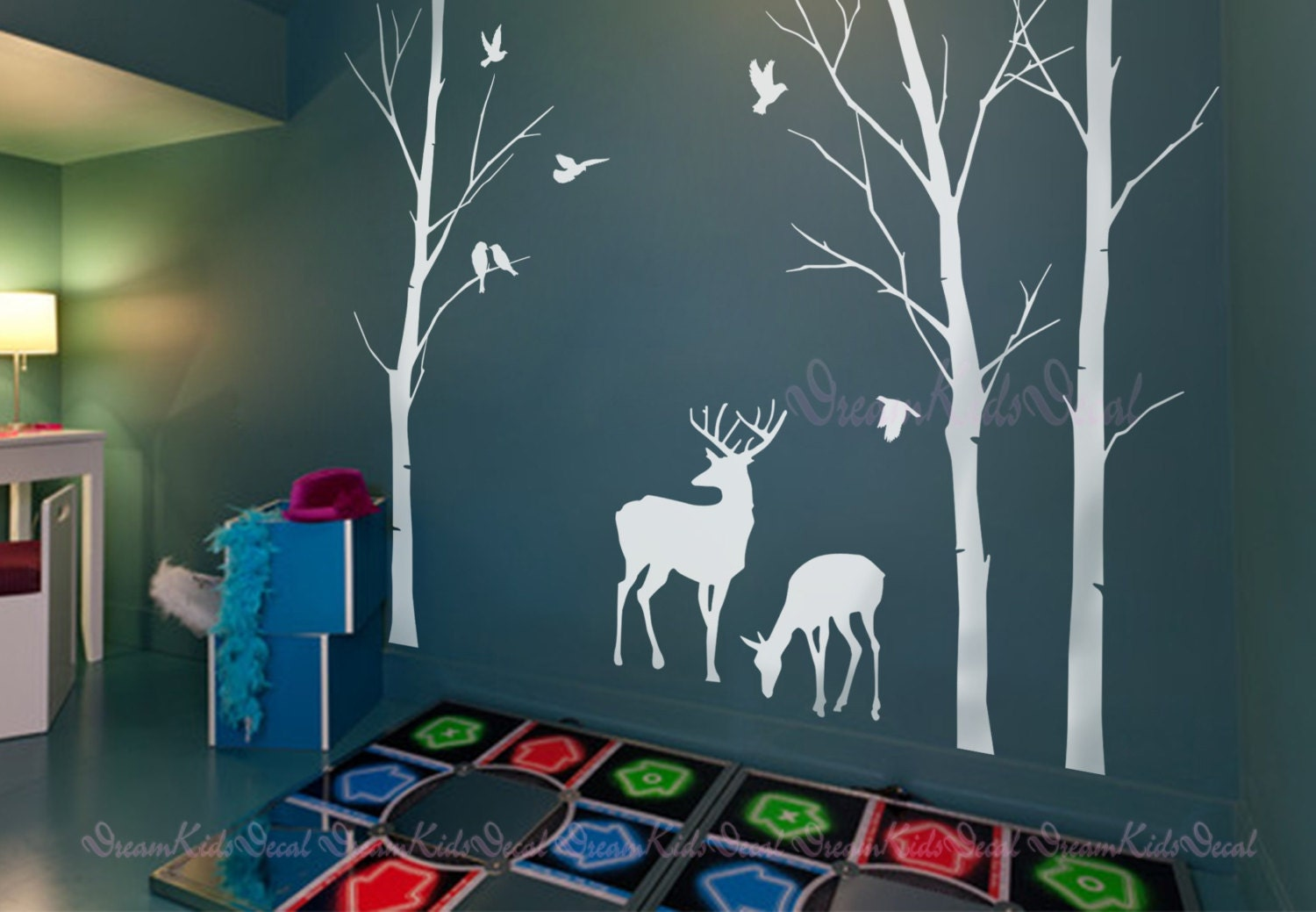 Birch Trees Decals Deer Wall Decals Nature Wall Decals - Custom vinyl wall decals deer