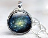 Galaxy Necklace - Space Jewelry, Solar System Necklace  Glass Pendant (gn 1)