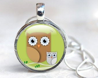 Owl Necklace, Cute Owl Pendant Glass Dome Green Brown Bird Necklace, Cute, illustration, Owl Jewellery, Cute Cartoon owl, Mom and Baby