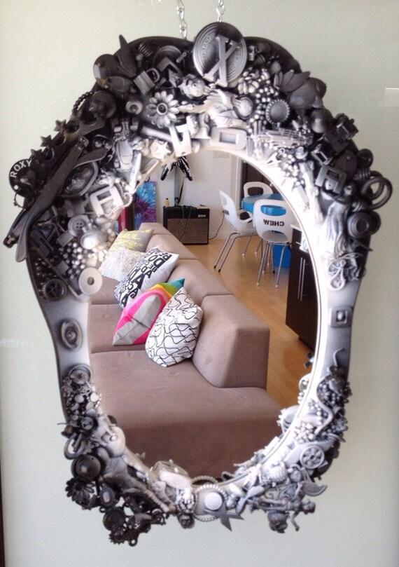 Unique baroque style mirror black and white gothic by for White baroque style mirror