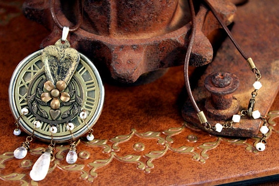 Dream Dial - Moonstone, cubic zirconium, Chinese and swarovski crystal necklace