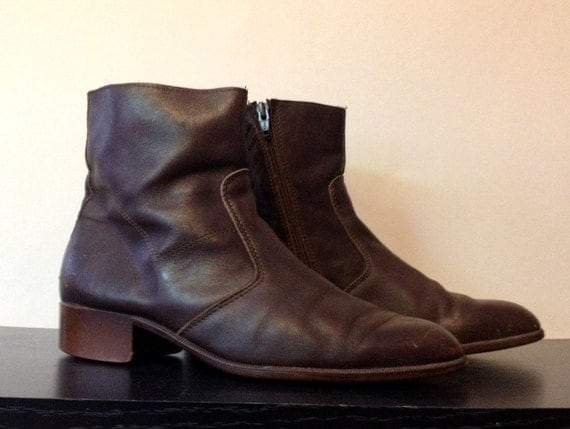 Vintage Mens Italian Brown Leather Ankle Boots Zip Up