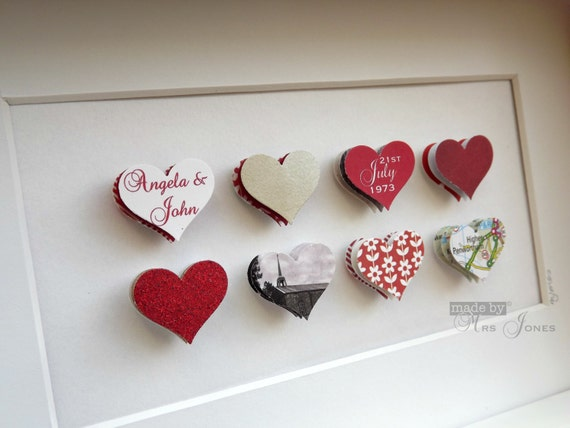 What Gift For 40th Wedding Anniversary: 40th Wedding Anniversary Gift 8 Small Hearts By MadeByMrsJones