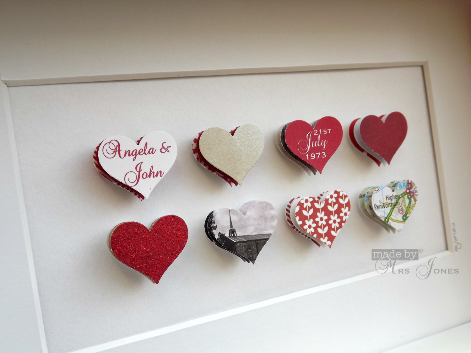 40th Wedding Anniversary Gifts Traditional: 40th Wedding Anniversary Gift 8 Small Hearts By MadeByMrsJones