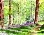 The Way Through the Wood Four Watercolor Greetings Cards Handmade Notecards, Watercolor Art