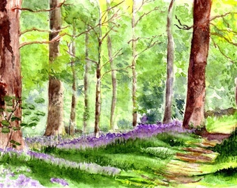 Watercolor Greetings Cards Four Handmade Notecards,  Woodland watercolour  Art