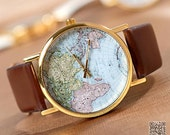 World Map Wrist Watch Mens Wristwatches Unisex Watch Women Watches (VI0254) - VivianGift