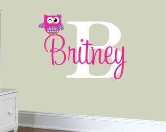 Personalized Owl Wall Decal - Childrens Vinyl Wall Lettering - Nursery Wall Decals - GirlsDecal Wall Art