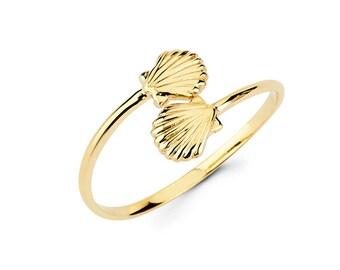 14k Sea Shell, Sea Shell jewelry, Sea Shell, Shell jewelry, gold Shell, Double Shell, Sea Jewelry, Sea Shell Ring