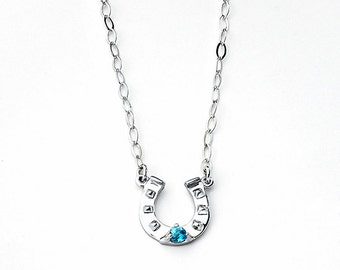 Blue Topaz HorseShoe Necklace,HorseShoe,Blue Topaz,Sterling Silver,Luck,Birthstone,Necklace,Gemstone,December,Fashion,Jewelry