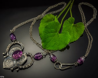 Rainbow fluorite Viola silver leaf necklace