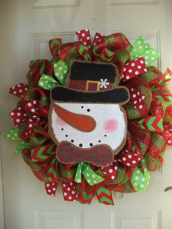 Last one burlap snowman lime and red christmas mesh wreath for Burlap snowman wreath