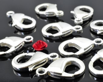 30 pcs of Silver plated lobster clasp in 12mm wideX 23mm length