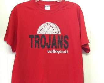 Custom Volleyball spirit glitter fitted t-shirt