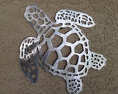 "Sea Turtle Handmade Metal Wall Hanging, aluminum, 16.75"" long, indoor or outdoor, won't rust or tarnish"